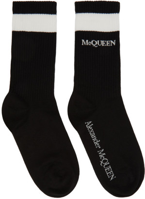 Alexander McQueen Black and White Logo Socks