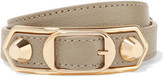 Balenciaga Metallic Edge Textured-leather And Gold-tone Bracelet - Beige