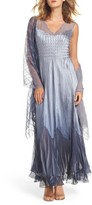 Komarov Women's Ombre Tiered A-Line Maxi Dress With Shawl