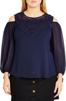 City Chic Plus Size Women's 'Romantic Motif' Cold Shoulder Top