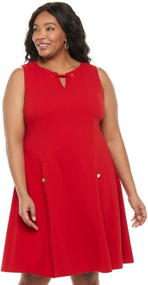 Chaps Plus Size A-Line Dress With Hardware Detail