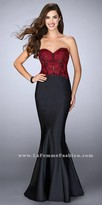 La Femme Strapless Floral Lace and Mikado Fitted Prom Dress