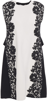 Valentino Lace-appliqued Stretch-knit Mini Dress