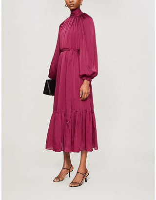 Zimmermann Tiered-skirt gathered-neckline silk midi dress