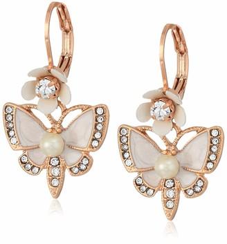 Betsey Johnson Rose Gold Butterfly Drop Earring