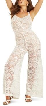 GUESS Sleeveless Wide-Leg Lace Jumpsuit