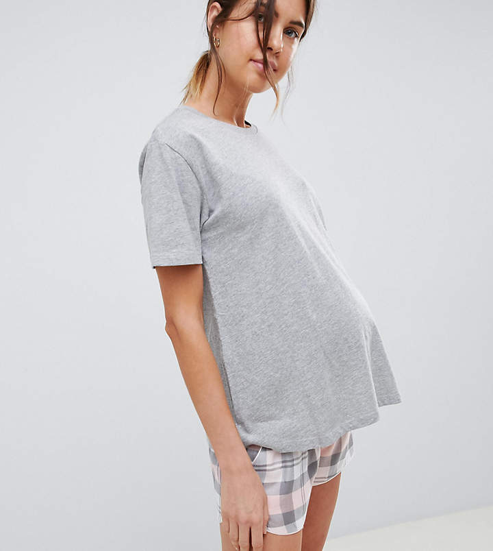DESIGN Maternity Mix & Match Gray Marl Sleep Tee