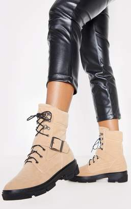 PrettyLittleThing Sand Lace Up Buckle Strap Ankle Boot