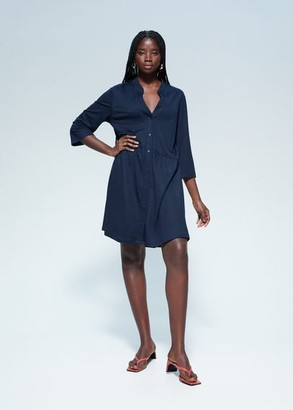 MANGO Violeta BY Flowy shirt dress dark navy - 12 - Plus sizes