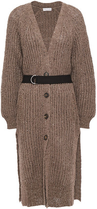 Brunello Cucinelli Belted Embellished Open-knit Cardigan