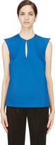 Thierry Mugler Blue Wool Peaked Shoulder Blouse