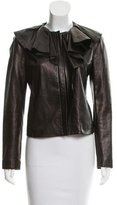 Diane von Furstenberg Ruffle-Accented Leather Jacket