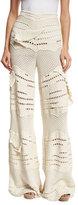 Esteban Cortazar Crocheted Wide-Leg Pants, Ecru