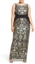 Adrianna Papell Jersey Inset Metallic Lace Column Gown (Plus Size)