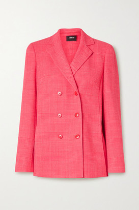 Akris Double-breasted Checked Wool-blend Blazer - Bubblegum