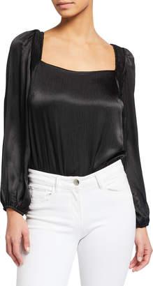 Astr Alia Long Puff-Sleeve Bodysuit