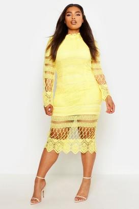 boohoo Plus Lace Panelled Midi Dress