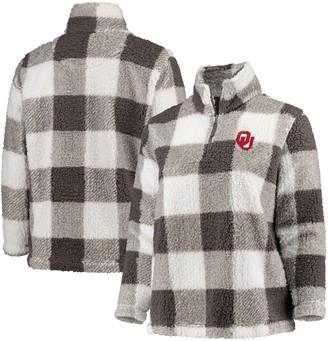 Women's Gray/Cream Oklahoma Sooners Plus Size Plaid Sherpa Quarter-Zip Pullover Jacket
