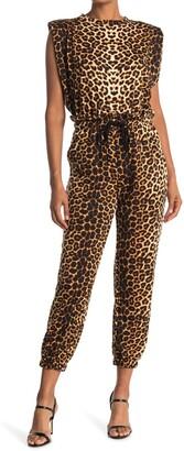 One One Six Leopard Print Jogger Jumpsuit