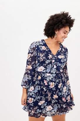 Oasis Womens Blue Curve Floral Skater Dress - Blue