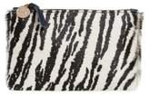 Clare Vivier Zebra Print Genuine Calf Hair Pouch