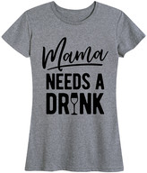 Instant Message Women's Women's Tee Shirts HEATHER - Heather Gray 'Mama Needs A Drink' Relaxed-Fit Tee - Women