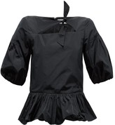 Molly Goddard Clara Puff-sleeve Crepe Peplum Top - Womens - Black
