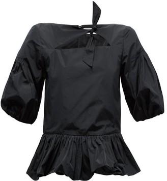 Molly Goddard Clara Puff-sleeve Crepe Peplum Top - Black