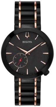 Bulova Limited Edition Women's Special Latin Grammy Edition Dress Black & Rose Gold-Tone Stainless Steel Bracelet Watch 35mm