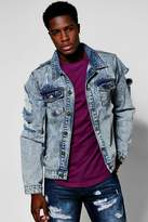 boohoo Snow Wash Denim Jacket with Open Rips blue