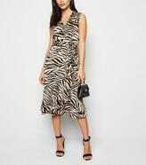 New Look Mela Zebra Print Wrap Midi Dress
