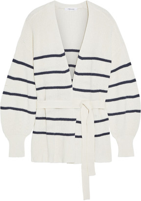 Frame Belted Striped Cotton And Cashmere-blend Cardigan
