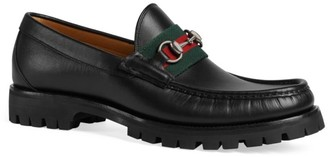 Gucci Leather Web Horsebit Loafer