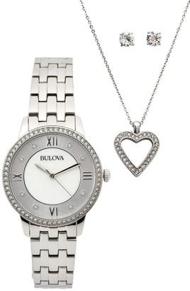 Bulova Women's Swarovski Crystal Accented Watch, Necklace & Earrings Set, 30mm