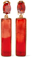 Oscar de la Renta Gold-plated, Resin And Crystal Earrings - Red