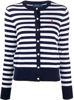 Polo Ralph Lauren logo embroidered striped cardigan