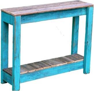"Nessa Longshore Tides Solid Wood Console Table Longshore Tides Table Base Color: Turquoise, Table Top Color: Natural, Size: 28"" H x 36"" W x 10"" D"