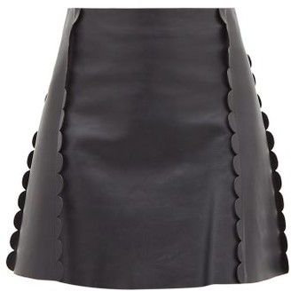 Chloé Scalloped-trim Leather Mini Skirt - Womens - Navy