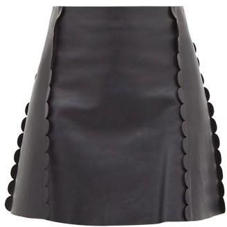 Chloé Scalloped-trim Leather Mini Skirt - Navy