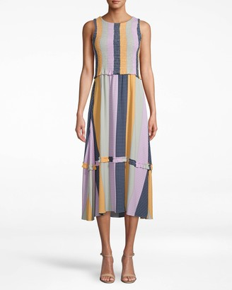 Nicole Miller Pop Stripe Smocked Midi Dress