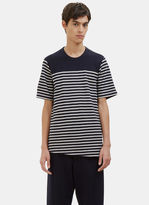Men's Contrast Layered Stripe Felt T-shirt In Burgundy And Grey €540