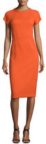 Narciso Rodriguez Cap-Sleeve Round-Neck Crepe Dress, Fire Orange