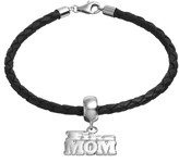 "Insignia Collection Sterling Silver & Leather ""Fire Mom"" Bracelet"