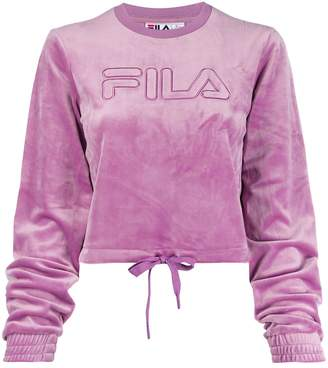 Fila crew neck cropped sweatshirt