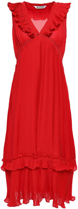 W118 By Walter Baker Ruffle-trimmed Pleated Crepe Midi Dress