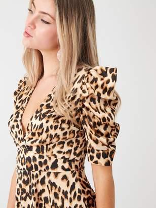 AX Paris Leopard Print Wrap Puff Sleeved Dress - Beige