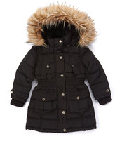 Bebe Black Flap-Pocket Hooded Puffer Coat - Toddler & Girls