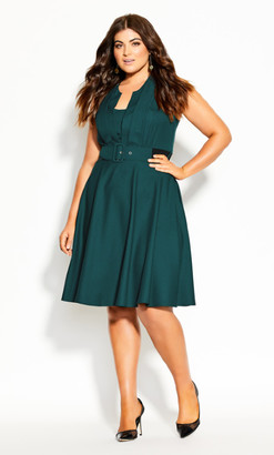 City Chic Vintage Veronica Dress - forest