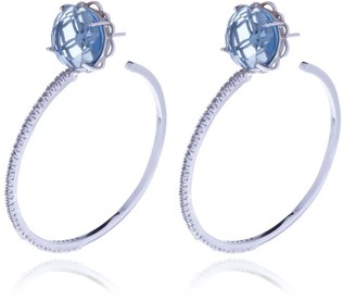 Georgina Jewelry Silver Blue Signature Diamond Cut Hoops Crystal Earrings