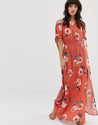 Band of Gypsies off shoulder maxi dress with tie sleeves in red floral print